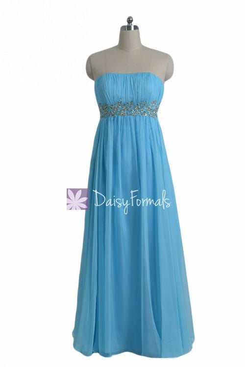 Long blue beading party dress for special occasions strapless formal dress (pr28207)