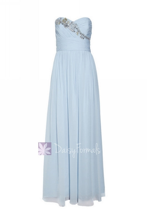 Vintage blue elegant chiffon dress cloudy prom dress strapless beaded formal evening dress (natalie)