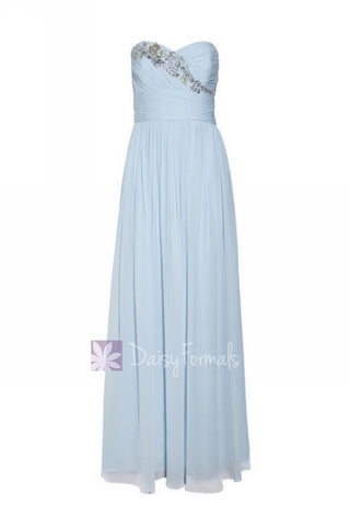 Vintage Blue Chiffon Dress Cloudy Prom Dress Strapless Beaded Evening Dress (Natalie)