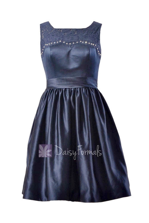 In stock,ready to ship -short beaded navy satin latest bridesmaid dress online w/illusion neckline(bm2422a) - (#35 navy)