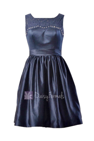 In stock,Ready to Ship -Short Beaded Navy Satin Bridesmaid Dress W/Illusion Neckline(BM2422A) - (#35 Navy)