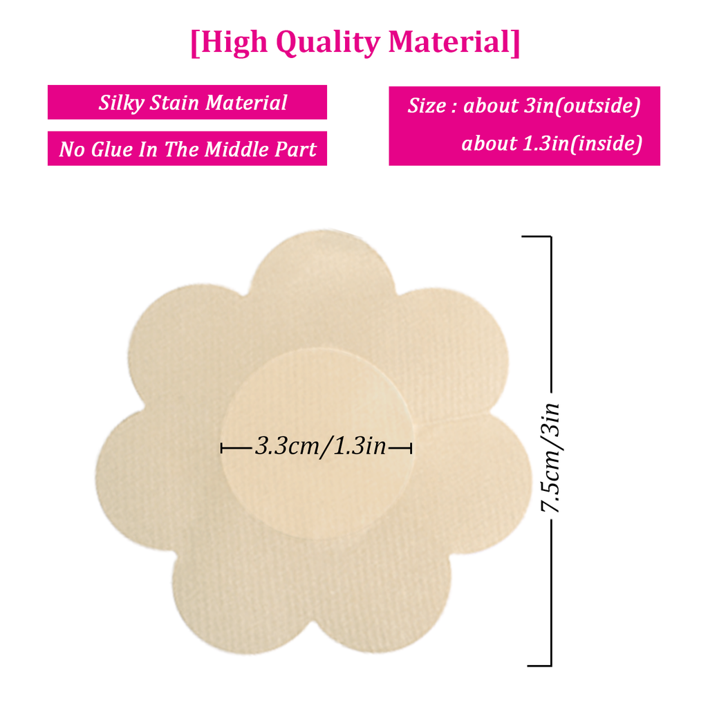 9c6a2fa5301 20 Pairs Pasties Satin Nipple Cover Stickers Disposable Breast Pasties  Flower Shape(Nude   Black