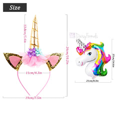 8 PCS Shining Gold Glitter Unicorn Horn Headbands Flowers Ears Headbands for Party Decoration or Cosplay Costume, Free Bonus- 8 PCS Unicorn Balloons