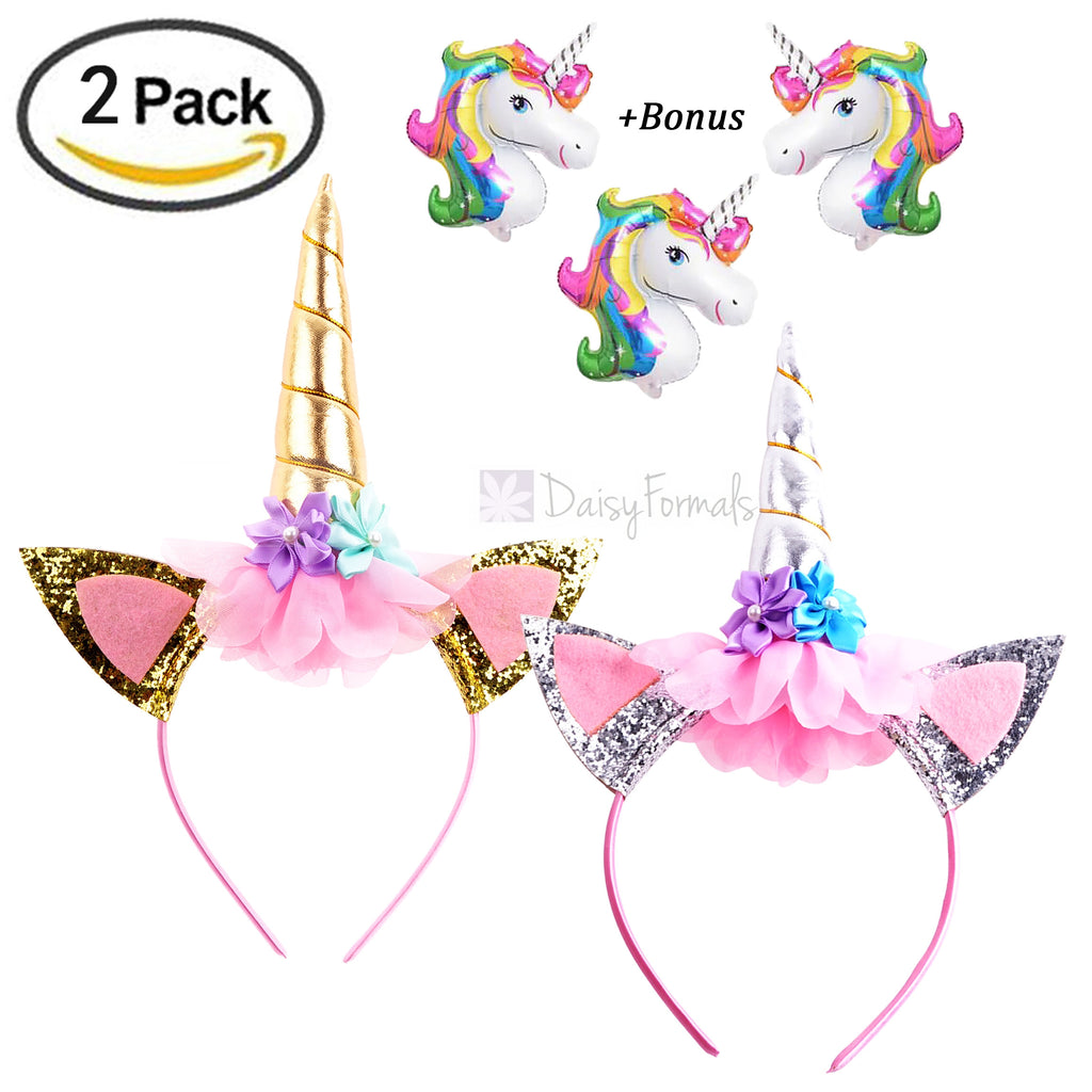 DaisyFormals 2 PCS Gold and Silver Unicorn Headbands Flowers Ears Headbands for Photo Props, Girls Kids Adults Cosplay Costume Holiday Party, Free Bonus- 3 Unicorn Ballons