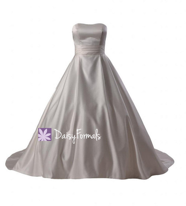 Classic satin wedding party dress wedding gown w/chapel train(wd0112379)