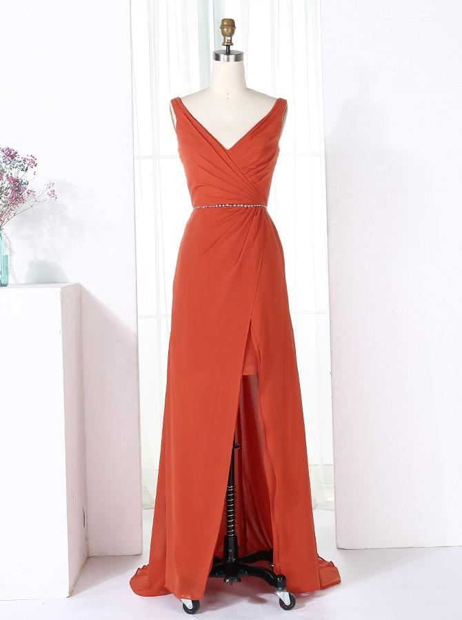 Sheath V-Neck Sweep Train Red Chiffon Long Bridesmaid Dress with Split (BMA202L)