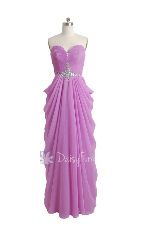 Purple chiffon prom dress sweetheart beaded a-line latest chiffon bridesmaid dress(pr72168)