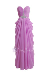 Purple chiffon prom dress sweetheart beaded a-line latest chiffon bridesmaid dresses(pr72168)