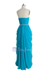 Beaded Blue Chiffon Dress Beach Wedding Dress Long Sweetheart Bridesmaid Dress(PR72168)