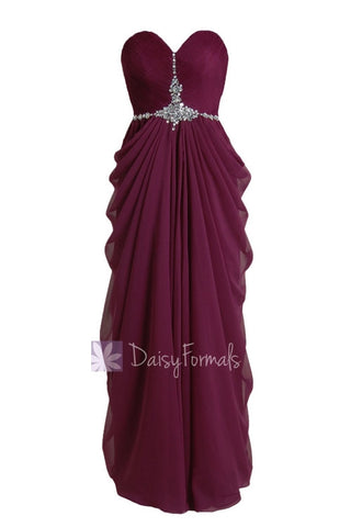 Beautiful Sweetheart Wine Red Prom Dress Beaded A-line Chiffon Evening Dress(PR72168)