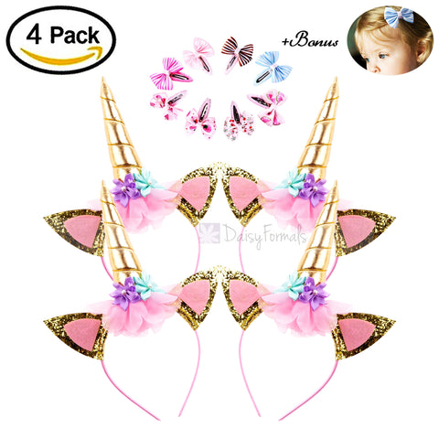 DaisyFormals 4 PCS Shining Gold Glitter Unicorn Horn Headbands Flowers Ears Headbands for Party Decoration or Cosplay Costume, Free Bonus- 8 PCS Hair Clips