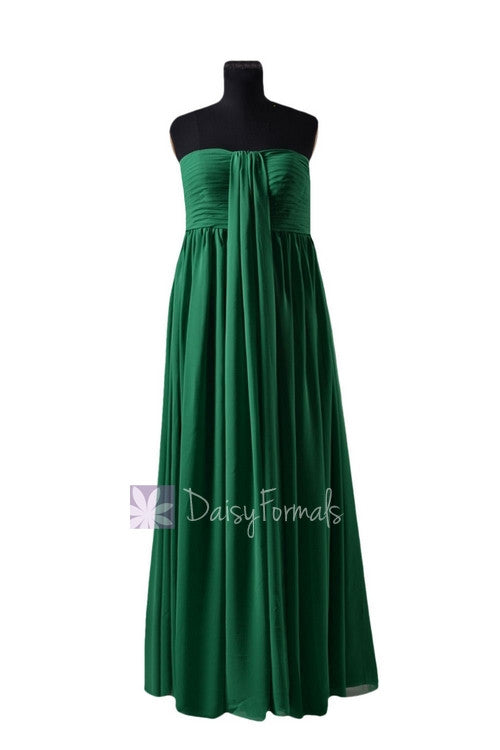 In stock,ready to ship - long strapless green chiffon bridesmaid dress (bm2404)- (#29 green)