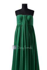 In stock,ready to ship - long strapless green chiffon bridesmaid dresses (bm2404)- (#29 green)