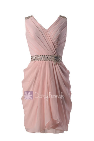 Blush Pink Party Dress Beaded V-Neck Pink Chiffon Bridesmaid Dress Short Pink Prom Dress (BM875)