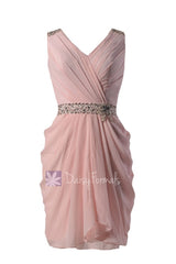 Blush pink party dress beaded v-neck pink chiffon bridesmaid dress short pink formal prom dress (bm875)