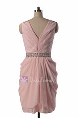Blush pink party dress beaded v-neck pink chiffon bridesmaid dress short pink formal prom dresses (bm875)