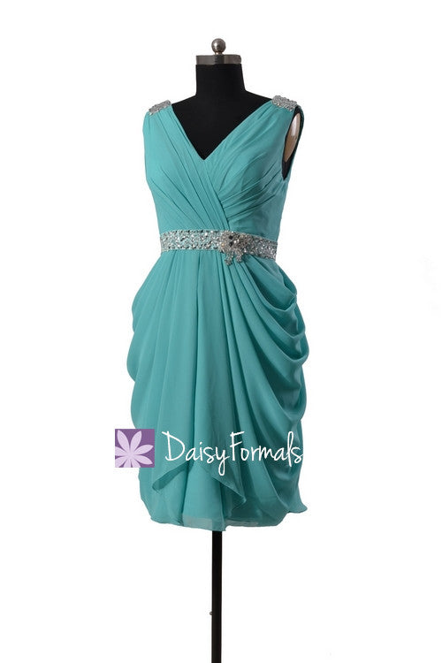 Beading chiffon bridal party dress tiffany blue prom dress bridesmaid dress (bm875)