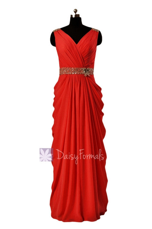 In stock,ready to ship - long beaded v-neck red chiffon bridesmaid dress(bm876l) - (#8 red, sz14)