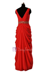 In stock,ready to ship - long beaded v-neck red chiffon bridesmaid dresses(bm876l) - (#8 red, sz14)
