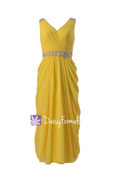 Lemon yellow chiffon evening dress,tea length bridal party dress,maid of honor dresses (bm876t)