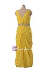 Lemon yellow chiffon evening dress,tea length bridal party dresses,maid of honor dresses (bm876t)