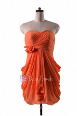 In stock,ready to ship - sheath orange chiffon simple cocktail bridesmaid dress (bm332n) - (#22 orange, sz10)