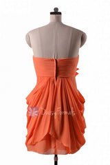 In stock,ready to ship - sheath orange chiffon simple cocktail bridesmaid dresses (bm332n) - (#22 orange, sz10)