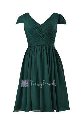 In stock,Ready to Ship - Plus Size Short Rich Peacock Bridesmaid Dress(BM5192S) - (Rich Peacock)