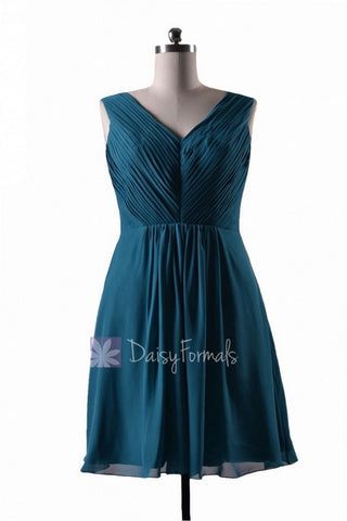 In stock,Ready to Ship - Short V-Neck Rich Teal Bridesmaid Dress(BM5194S) - (Rich Teal)