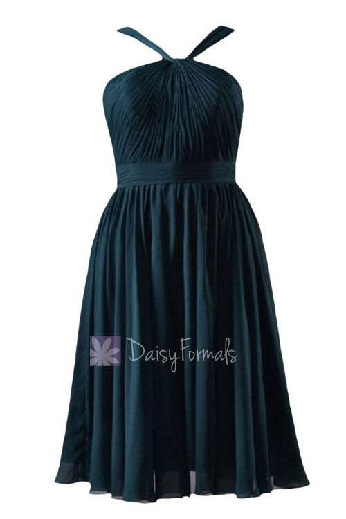 In stock,ready to ship - short knee length rich peacock chiffon bridesmaid dress(bm5195s) - (rich peacock, sz12)
