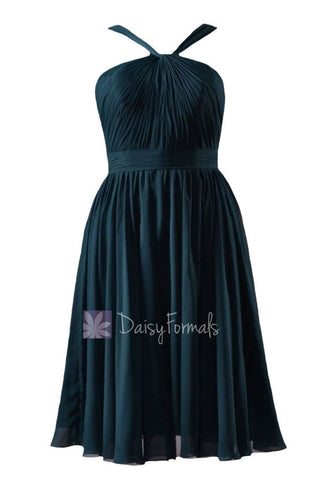 In stock,Ready to Ship - Knee Length Rich Peacock Chiffon Bridesmaid Dress(BM5195S) - (Rich Peacock, Sz12)