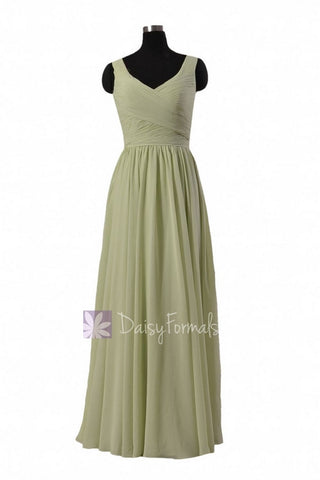 In stock,Ready to Ship - Long V-Neck Green Chiffon Bridesmaid Dress(BM5196L) - (#33 Tea Green, Sz10)