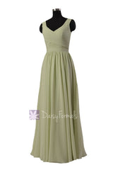 In stock,ready to ship - long v-neck green chiffon bridesmaid dresses(bm5196l) - (#33 tea green, sz10)