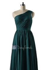 In stock,ready to ship - long one shoulder rich peacock simple bridesmaid dresses(bm10822l) - (rich peacock, sz2)