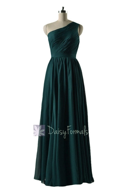 In stock,ready to ship - long one shoulder rich peacock simple bridesmaid dress(bm10822l) - (rich peacock, sz2)