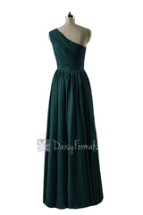 In stock,Ready to Ship - Long One Shoulder Rich Peacock Bridesmaid Dress(BM10822L) - (Rich Peacock, Sz2)