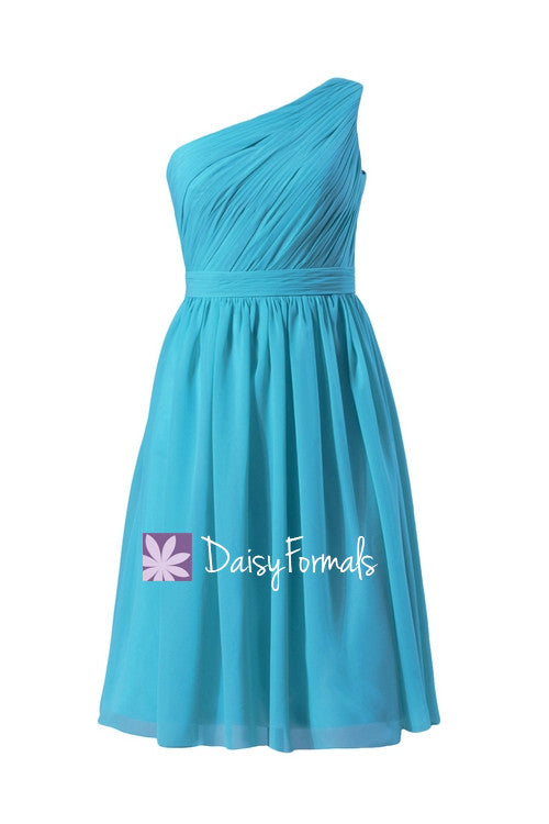 Malibue blue one shoulder discount bridesmaid dress chiffon party dress (bm10822s)