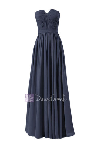 In stock,Ready to Ship - Long Navy Blue Chiffon Bridesmaid Dress W/Inserted V-Neckline(BM10823L) - (#35 Navy, Sz12)