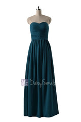 In stock,ready to ship - long sweetheart peacock teal chiffon formal dress(bm10824l) - (#42 peacock teal, sz4)