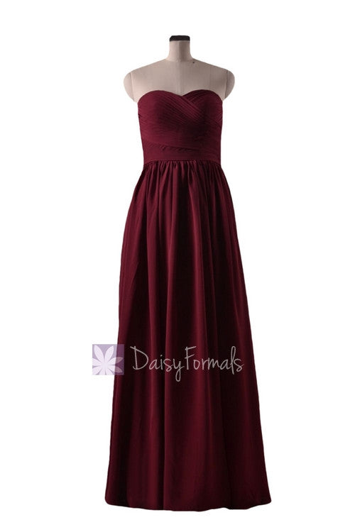 Falu red bridal party dress long sweetheart red chiffon bridesmaid dress(bm10824l)