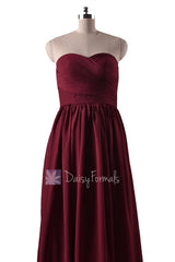 Falu red bridal party dress long sweetheart red chiffon bridesmaid dresses(bm10824l)