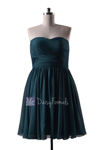 Plus Size Short Rich Peacock Chiffon Formal Dress Short Teal Dress (BM10824S)