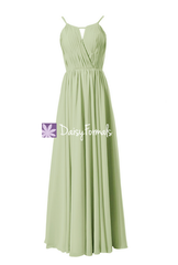 In stock,ready to ship - long tea green chiffon bridesmaid dress(bm10826l) - (#33 tea green)