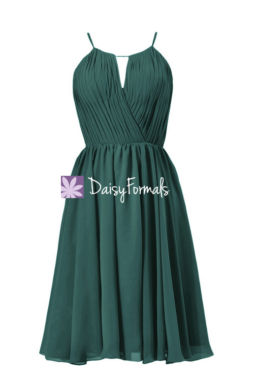 Rich peacock beach wedding party dress short teal chiffon bridesmaid dress online (bm10826s)