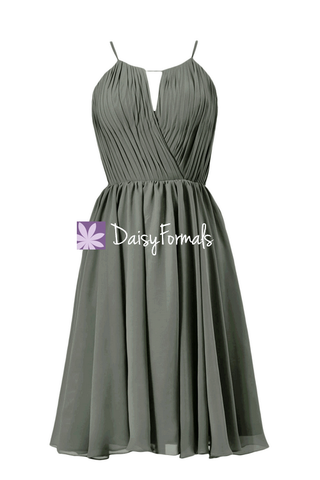 In stock,Ready to Ship - Short Gray Chiffon Bridesmaid Dress W/Scoop Neck(BM10826S) - (#53 Dark Gray, Sz2)
