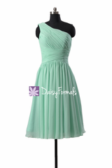Hot! mint one-shoulder chiffon homecoming dress affordable knee length bridesmaid dress(bm351)