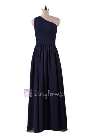 In stock,Ready to Ship -Navy Blue One-Shoulder Long Party Dress Chiffon Bridesmaid Dress(BM122) - (#35 Navy, Sz6)
