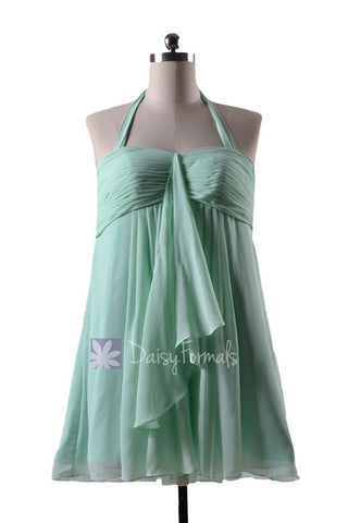 In stock,Ready to Ship - Mint Maternity Bridesmaid Dress Halter Chiffon Dress(BM892N)- (#34 Mint)