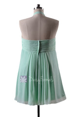 In stock,ready to ship - mint maternity elegant bridesmaid dress halter chiffon dresses(bm892n)- (#34 mint)