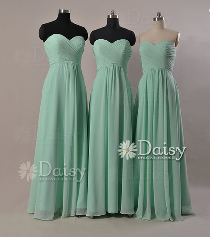 Custom Mint Chiffon Bridesmaid Dress Chiffon Evening Dress Mint Party Dress(BM2442)